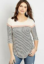 Maurices~New With Tags~Sepia Rose 24/7 Stripe Blocked Tee~Size Large