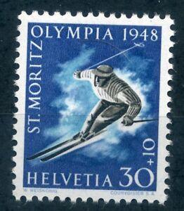 Switzerland 1948 30c+10c Winter Olympics stamp unmounted mint