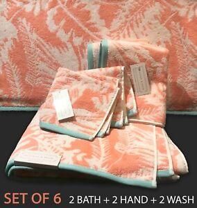 6-PC New BLEEKER & MAIN Cotton Wash Hand Bath Towels Peach Turq Tropical Leaves