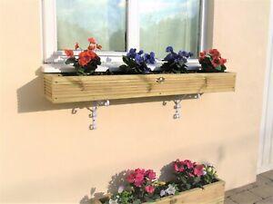Wooden Window Box Planter FREE Brackets - Herb Wall Hanging Timber Trough