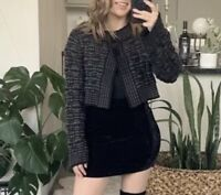 Cabi Bubble Knit Bolero Cropped Sweater Cardigan Bell Sleeves Gray Black Sz S