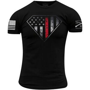 Grunt Style Red Line Crest T-Shirt - Black
