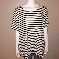 276e682fd275d Green Envelope Knit Tee Size 3X Womens Striped Short Sleeve Top Stretchy  Fringe