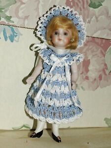 """Antique Doll French Dress Hat Pants Set for 5"""" - 6"""" Bisque Miniature Mignonette"""