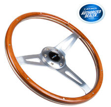 NRG STEERING WHEEL 365MM CLASSICS VINTAGE STYLE SMOOTH WOOD GRIP CHROME 3 SPOKES