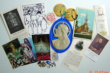 RELIGIOUS LOT OF 26, BADGES, PICTURES, MEDALS, GLOW IN THE DARK OVAL, STICKER