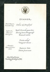 A menu from a dinner at the White House  - Lyndon Johnson 1/12/65
