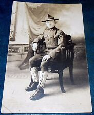 SUPERB WW1 1917 REAL PHOTO PC OF YOUNG DOUGH BOY US SOLDIER
