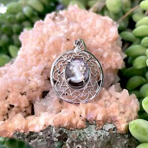 Victorian Cameo Sterling Silver 925 Carved Mother of Pearl Ornate Pendant 2.6g
