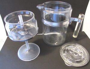 VTG  PYREX COFFEE POT GLASS HANDLE LID STEM BASKET FLAMEWARE COMPLETE 8 CUP