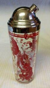 Vintage Hazel Atlas Glass Red Dancing Musical Pigs Bar Ware Cocktail Shaker