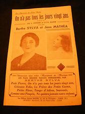 Partition On a pas tous les jours vingt ans Berthe Sylva Jane Mathea Music Sheet
