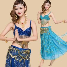 Professional Belly Dance Costumes Sets Solid Bra Belt Shinny Francy Dress Skirts