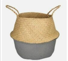 Stunning Natural Seagrass Plant Basket Hand Painted In Rural Sussex In Grey