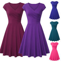 Fashion Women Casual A Line Dress V-Neck Short Sleeve Evening Party Mini Dress