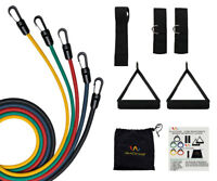 RESISTANCE BANDS 11 PCS FITNESS EXERCISE LATEX TUBE X 90 P YOGA WORKOUT ABS X90P