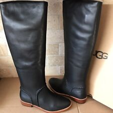 UGG Gracen Whipstitch Black Leather Knee High Tall Equestrian Boot Size 10 Women