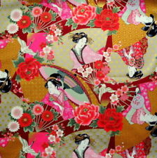Japanese Cotton Fabric Ukiyoe Geisha Kimono Lady Burgundy by Half Metre