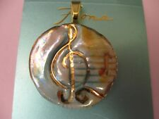 FIONA ARTIST STUDIO  Porcelain Pendant GOLD PINK YELLOW BLUE MUSIC G CLEF NOTES