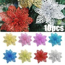 10Pcs Artificial Hollow Glitter Flower Wedding Party Home Decor Gift