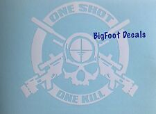 Military Vehicle Decal One Shot One Kill AR/M4 50cal skull Sniper Army USMC Navy