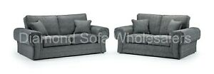 SOFA - WILCOT - 3+2 - 3 SEATER - 2 SEATER - ARMCHAIR- FOOTSTOOL - IN GREY FABRIC