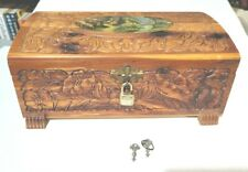 Vintage Cedar Carved Wood Footed Jewelry Box w/ Mirror  Nature Scene