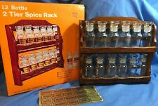 Vintage Wooden Spice Rack Herb Spice Apothecary 12 Glass Jar & labels NOS NEW