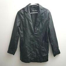 Wilson Leather Black Jacket Women Size Large Single Breast Trench Coat