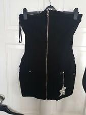 Black Zipper Goth /punk/rock Short Mini Dress size M Wts