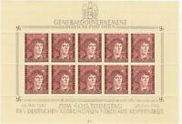 Stamp Germany Poland General Gov't Mi 104 Sheet 1943 WWII Reich Copernicus MH