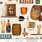 """On Tap! Craft Beer Motif Fabric! 1 yd x 44"""" Cotton BTY! Awesome Details! Look!"""