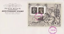 UNADDRESSED GB ROYAL MAIL FDC 1990 PENNY BLACK STAMP SHEET PLYMOUTH PMK