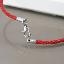"Custom Made Silver Stainless 3mm Cord Red Leather Necklace 20"" 21"" inches 51cm"