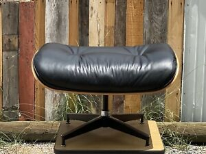 VINTAGE 2000s Herman Miller Eames CHERRYWOOD 671 OTTOMAN Black Leather