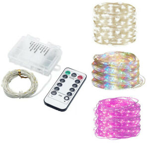 8 Modes 5M 10M LED Fairy String Lights Battery Operated Timer Remote Control RD
