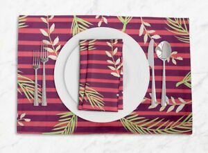 S4Sassy Stripe & Palm Leaves Dining Reversible Tablemats With Napkins Set-LF-20F