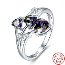 Lover Gift Free Jewelry Box Rainbow Topaz 925 Sterling Silver Ring SzL½ N½ P½ R½