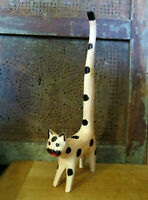 Black White Tall Tail Spotted Cat Carved Wood Wooden Folk Art Country Primitive