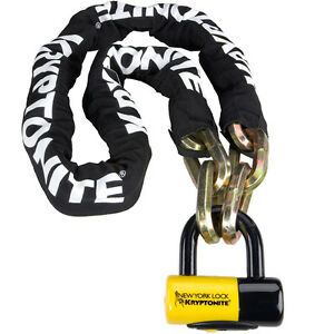 KRYPTONITE NEW YORK FAHGETTABOUDIT 150CM CHAIN WITH NY DISC LOCK GOLD CAT 3 BIKE