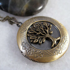 Tree Of Life Brass Photo Picture Locket Charm Pendant Chain Necklace