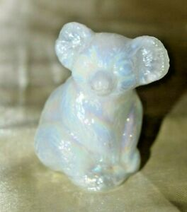"Boyd Glass Koala March Carnival 2"" Tall Opalescent White"