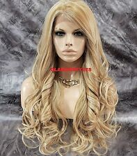 Long Loose Wavy Blonde Mix Lace Front Full Wig Heat Ok Hair Piece #H24/613A NWT