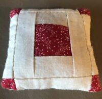 "Miniature Handmade Quilted Vintage Doll Pillow 3""x 3"""