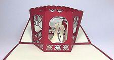 Bride & Groom - Red Wedding Pop Up Card. 3D Love/Anniversary/Valentines Day Card