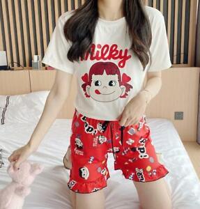 Women Cartoon Print Tee and Shorts Pajama Set Sleep T Shirt Shorts Sleepwear