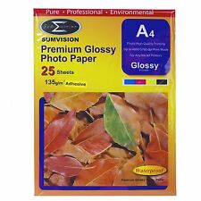 Sumvision A4 Adhesive Inkjet Printer Photo Glossy Paper 135gsm 25 Sheets Pack