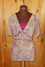 M&S pink green beige floral paisley chiffon slit short sleeve tunic top 10 38