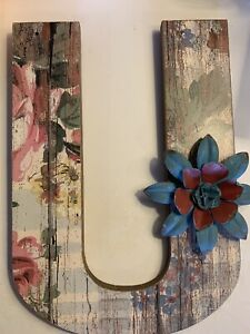 """Letter U Monogram Initial Wooden Home Decor Painted Weathered Floral 12"""" X 8.5"""""""