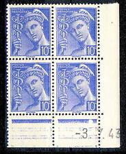 FRANCE - 1943 - N°546 10c MERCURE COIN DATÉ du 3.7.43 (1 point blanc) - TB